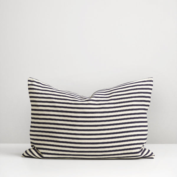 Navy ticking stripe cushion