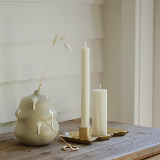 Column Pillar Candle Duo - White