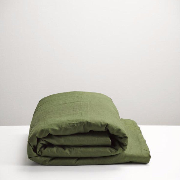 Forest Green linen duvet