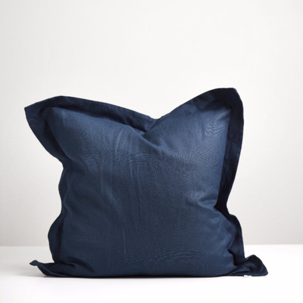 Navy linen european pillowcase