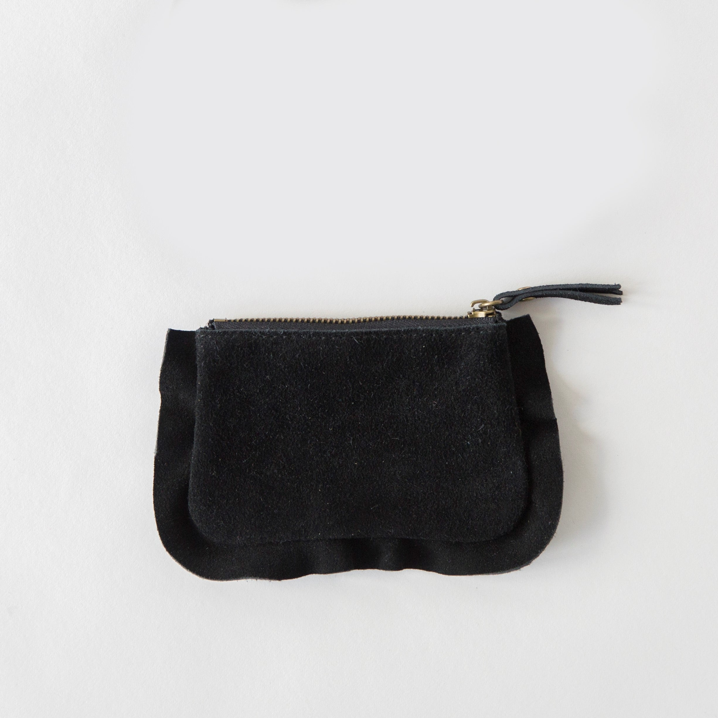 Frills Leather Pouch Black
