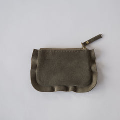 Frills Leather Pouch Khaki