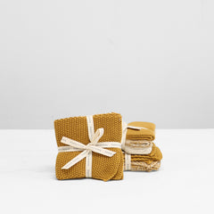 Knitted Wash Cloths - Mustard
