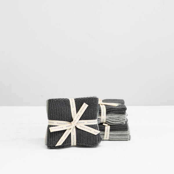 Knitted Wash Cloths - Grey