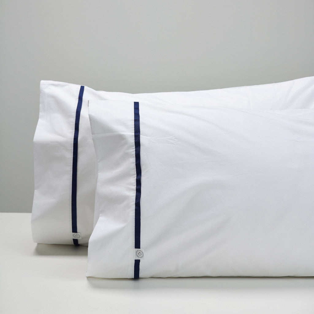 navy tape pillowcases