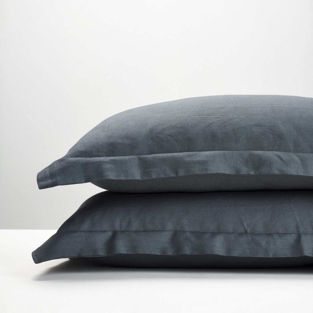 Slate linen pillowcases