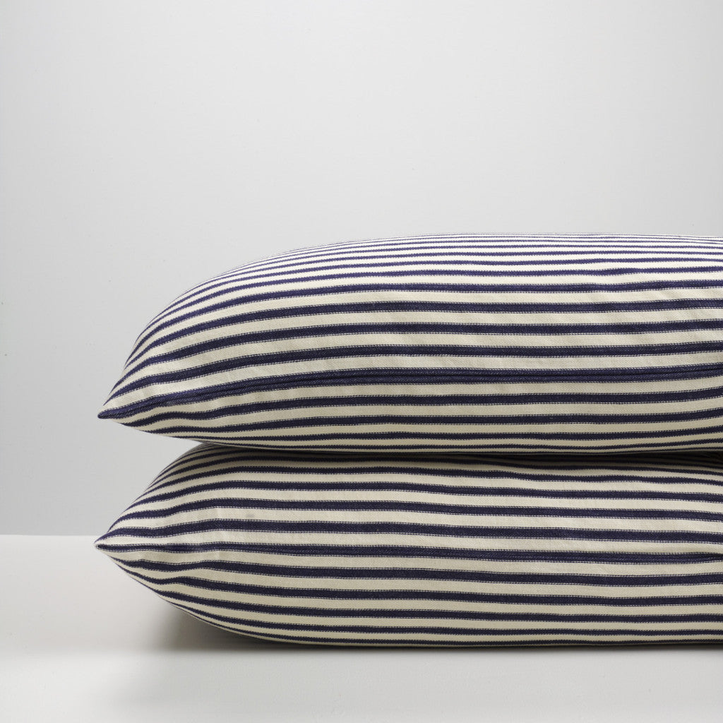 navy ticking stripe pillowcases