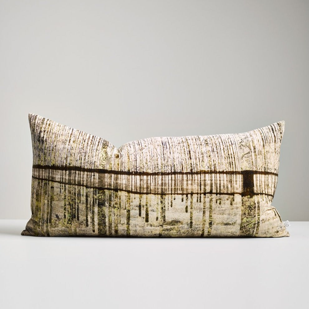 Bitumen Bark Velvet Lumbar Cushion