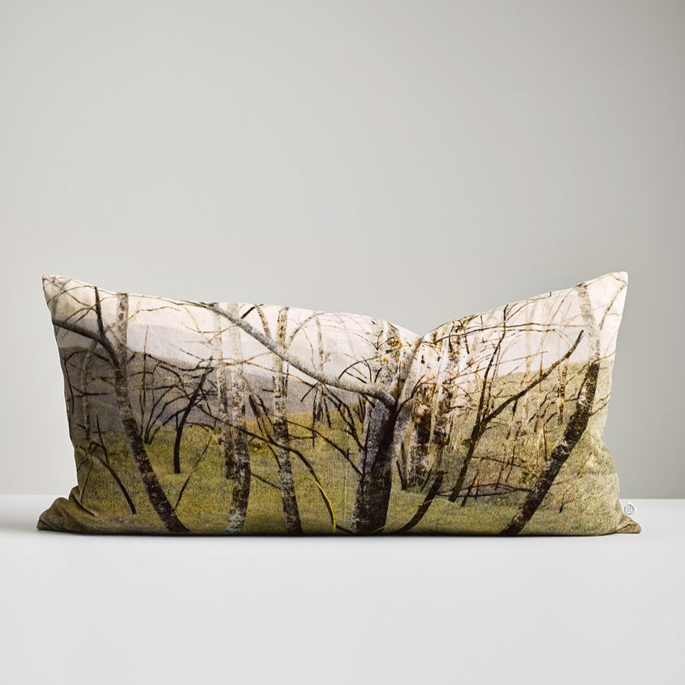 Winter Trees Velvet Lumbar Cushion