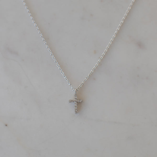 Sparkle Cross Necklace Clear