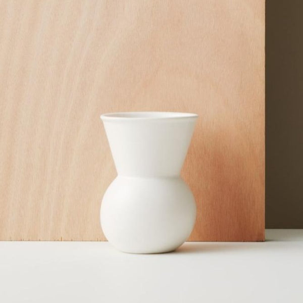 Bulb Vase - White Satin - Small