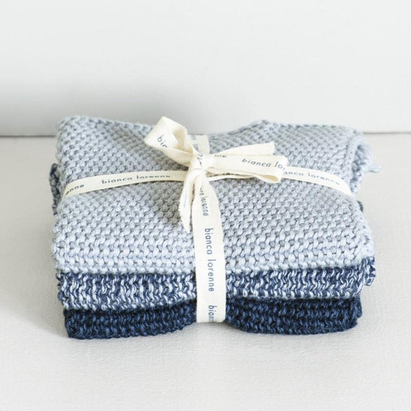 Knitted Wash Cloths - Indigo