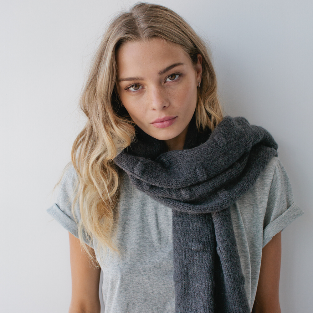 Bobble Knit Scarf - Charcoal