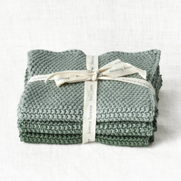 Knitted Wash Cloths - Green