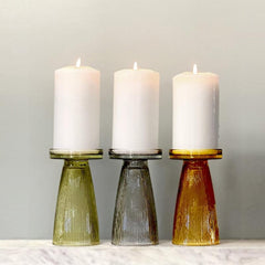 Ripple Glass Candle holder - set of 2