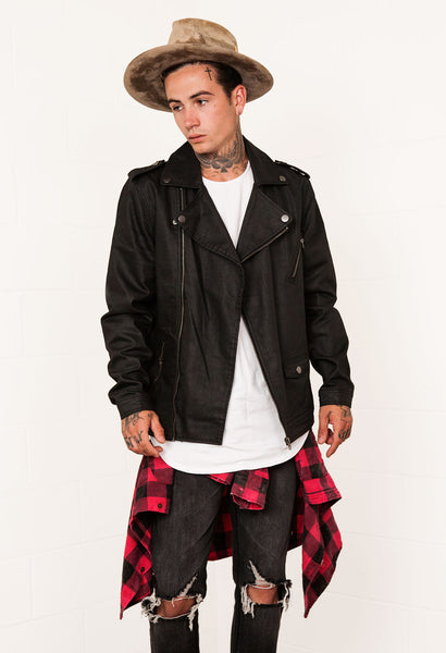 Coated Denim Moto Jacket