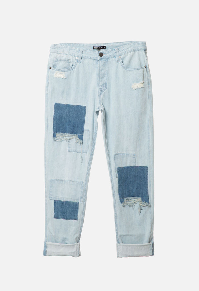 Patchwork Relaxed Cuff Denim Pants