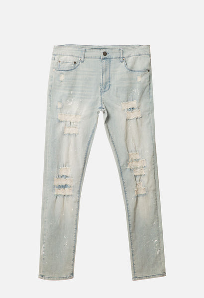 Destructed Paint Splatter Denim Pant