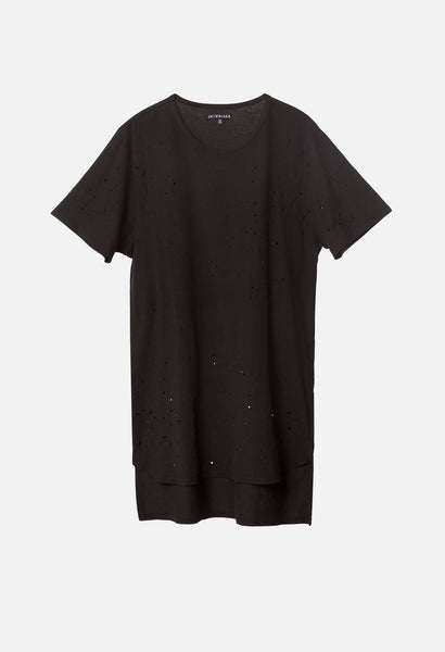 Elongated Destructed Dual Hem Tee