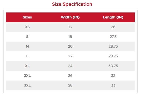 Sizing Chart - T-Shirt (Anvil)