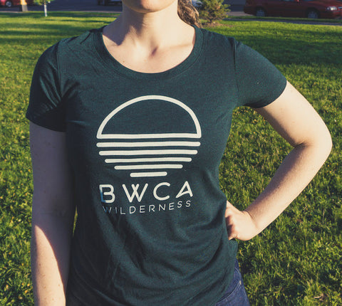 BWCA Sunset Wilderness Women's T-Shirt - Emerald Green, Shirts - Humble Apparel Co