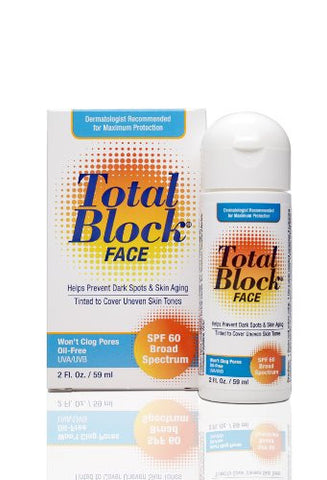 Fallene Total Block Face UVA/UVB Complete Broad Spectrum Sun Protection SPF 60 Tinted 2 fl Ounces (59 ml)
