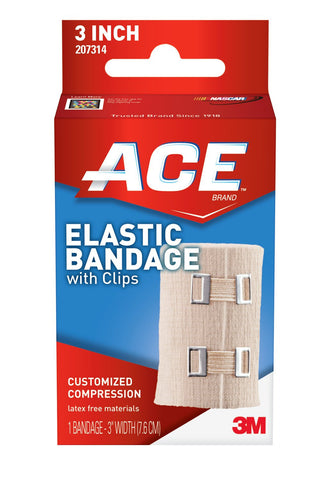 ACE Elastic Bandage with Clips 3 Inches (Pack of 2) 3 Inches (Pack of 2)
