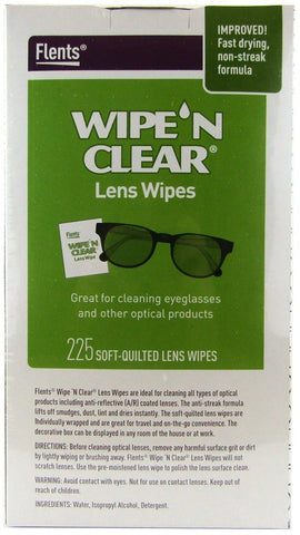 Flents Wipe n Clear Biodegradable Lens Wipes 225 Count