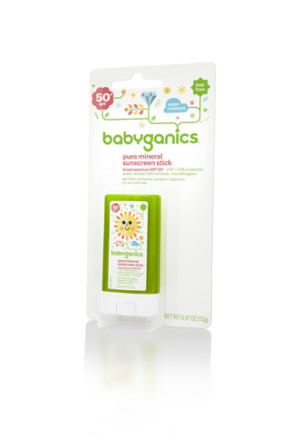 Babyganics Pure Mineral Sunscreen Stick SPF 50 0.47-Ounce (Pack of 2) Packaging May Vary