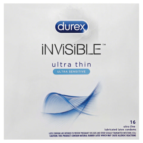 Durex Invisible Ultra Thin and Ultra Sensitive Premium Condoms 16 Count
