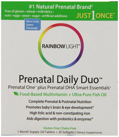 Rainbow Light Prenatal and Posnatal Prenatal One Mulitvitamin and Prenatal DHA 30 Tablets and 30 Softgels Pack of 1