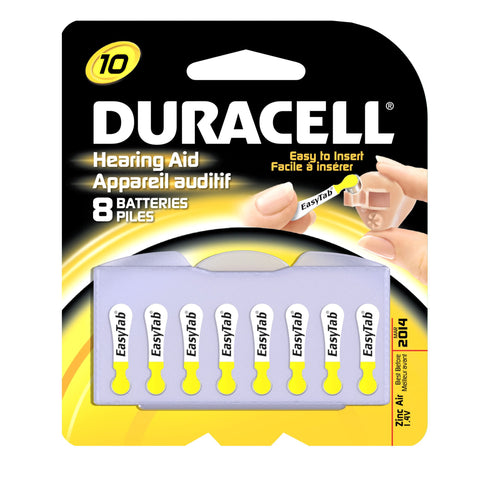 Duracell 1.4 Volt Zinc Air Hearing Aid Batteries Size 10 DA10B8 (8 Batteries)
