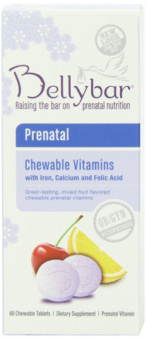 Bellybar Chewable Prenatal Vitamins Mixed Fruit Flavor 60-Count
