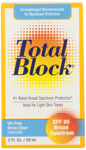 Fallene Total Block UVA/UVB Complete Broad Spectrum Sun Protection SPF 65 Clear 2 fl Ounces (59 ml)