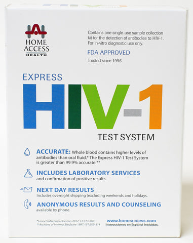 Home Access Express HIV-1 Test System - At-Home Test For The HIV Virus - Next Day Results Confidential & FDA Approved