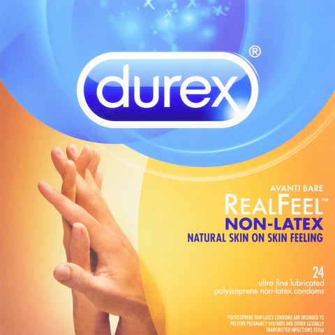 Durex Avanti Bare Real Feel Polyisoprene Non Latex Lubricated Condoms 24 Count