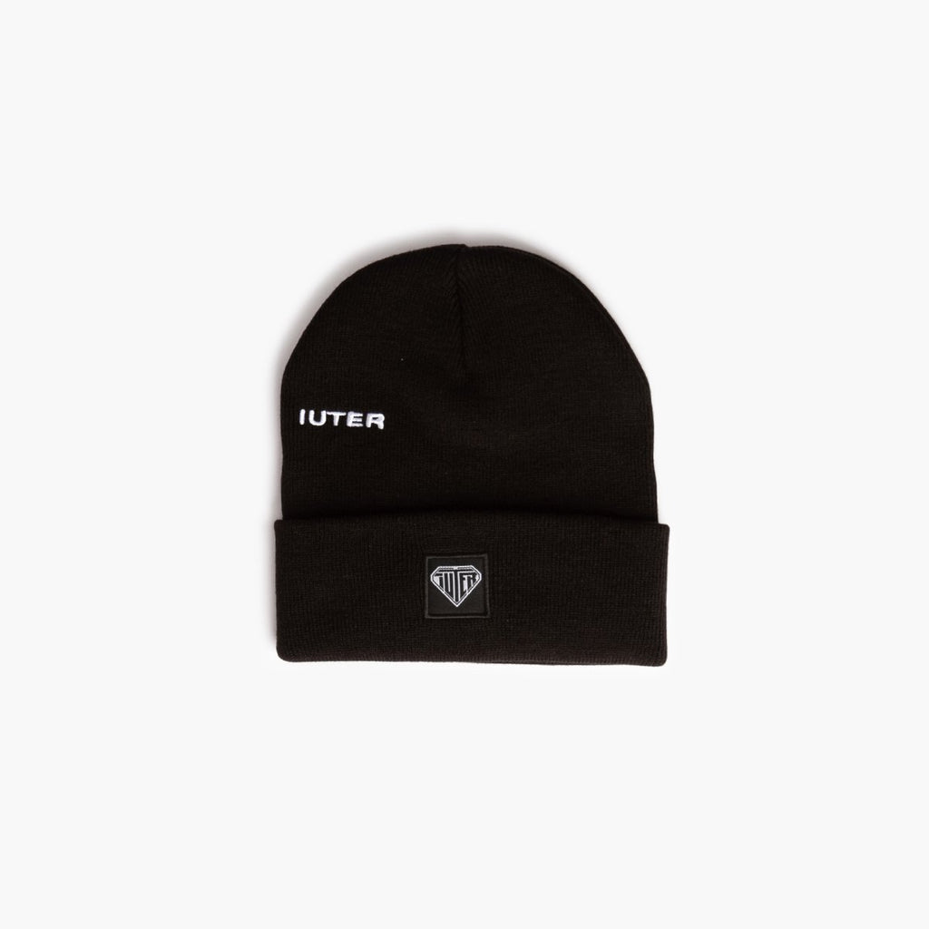 Accessories One Size Iuter Logo Fold Beanie CRVRIBNP01-Black-One Size Iuter
