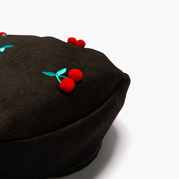 Accessories One Size Lazy Oaf Cherry Pom Pom Beret 44420WA000011-Black-One Size Lazy Oaf