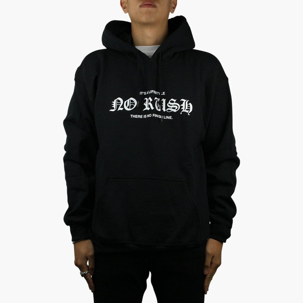 Clothing Suede No Rush Black Hoodie Suede