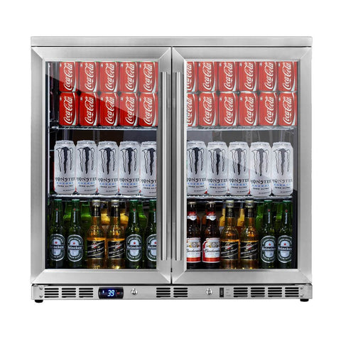 36 Inch Heating Glass 2 Door Built In Beverage Fridge