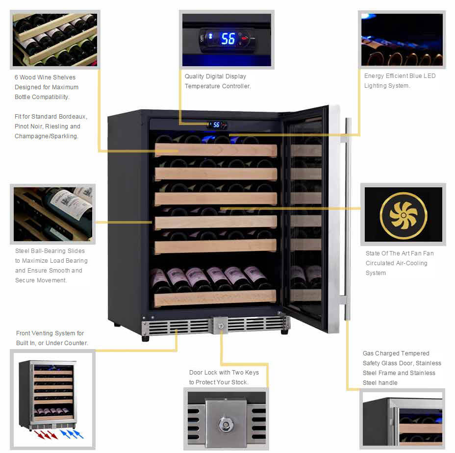 KingsBottle Wine Cooler Detailed Features | KBU-50W