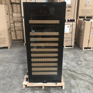 REFURBISHED 100 Bottle Single Zone Upright Used Wine Fridge With Glass Door-Black