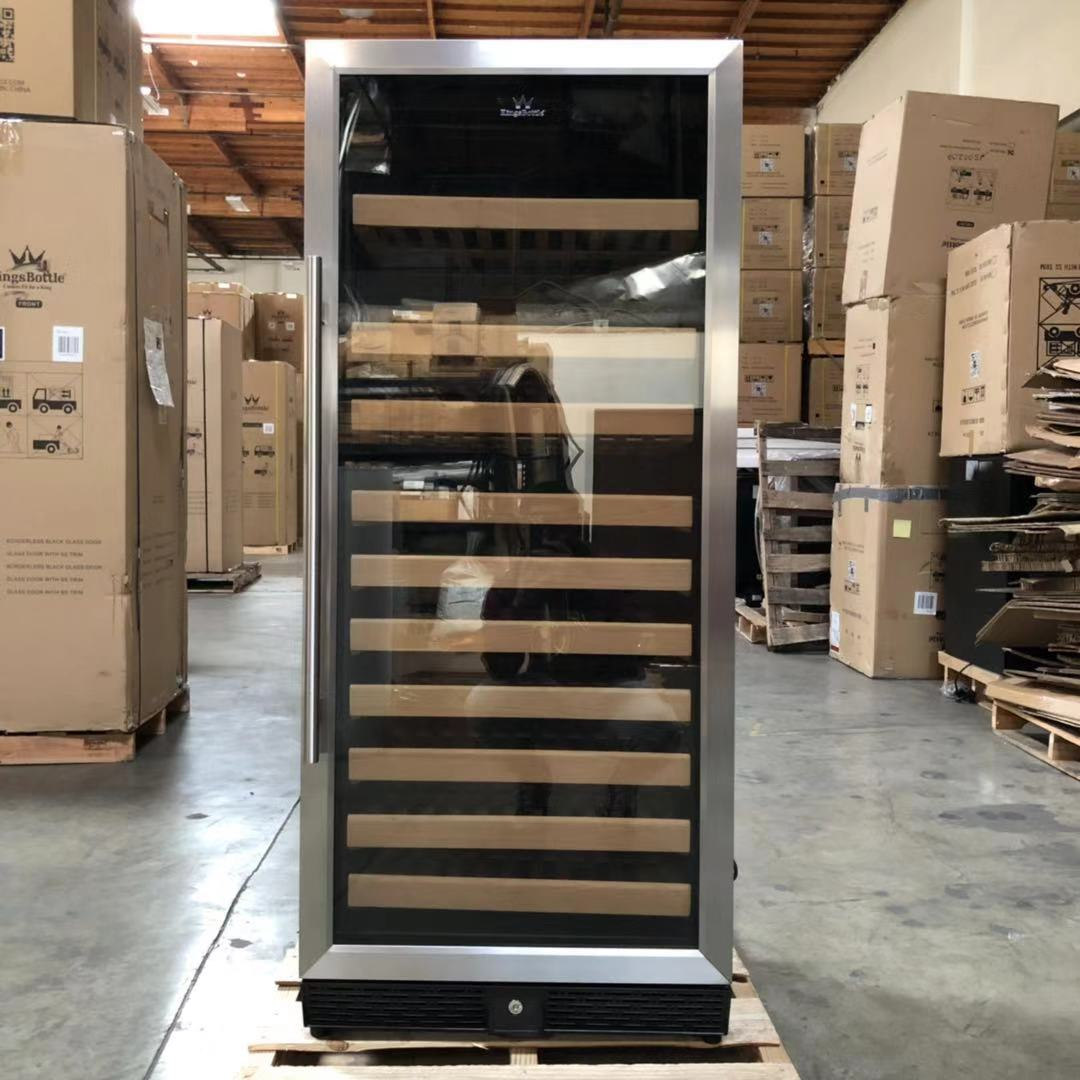 Refurbished 100 Bottle Single Zone Upright Used Wine Fridge | Glass Door with Stainless Steel Trim