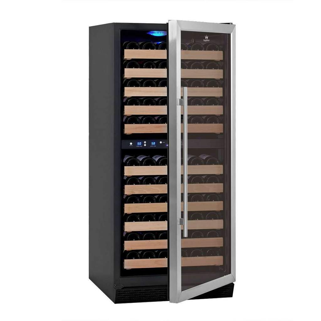 100 bottles glass door upright dual zone wine fridge KBU100DX-SS