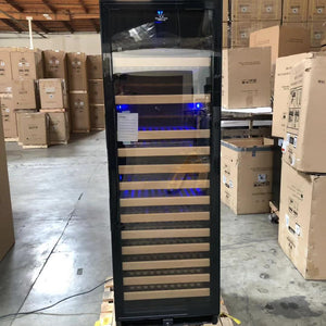 REFURBISHED - Large Wine Cooler Fridge With Glass Door | Black