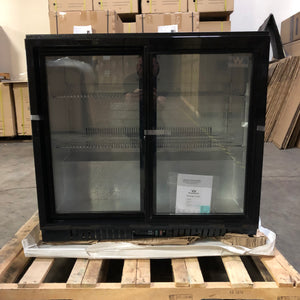 Refurbished 36 Inch Sliding Glass 2 Door Back Bar Beverage Refrigerator