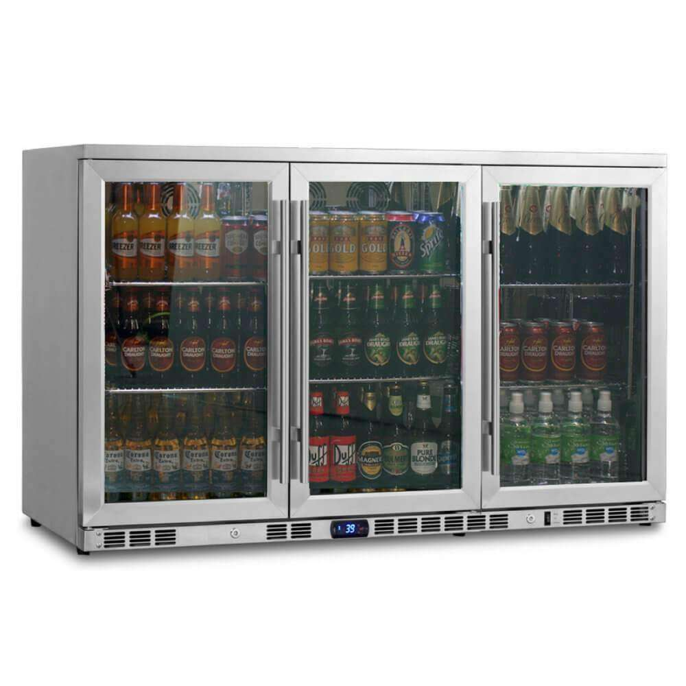 USED 3-Door Full Stainless Steel Beverage Refrigerator with Heating Glass