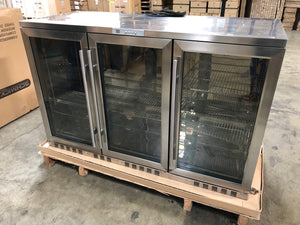 SAMPLE 3-Door Heating Glass Undercounter Beverage Cooler Drink Center