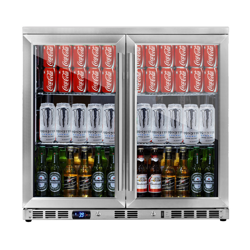36 inch heating glass 2 door built in beverage fridge KBU56M