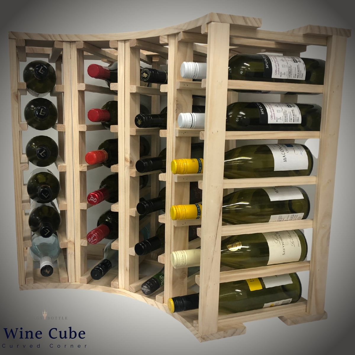 4 Column 24 Bottle Curved Corner Wine Cube